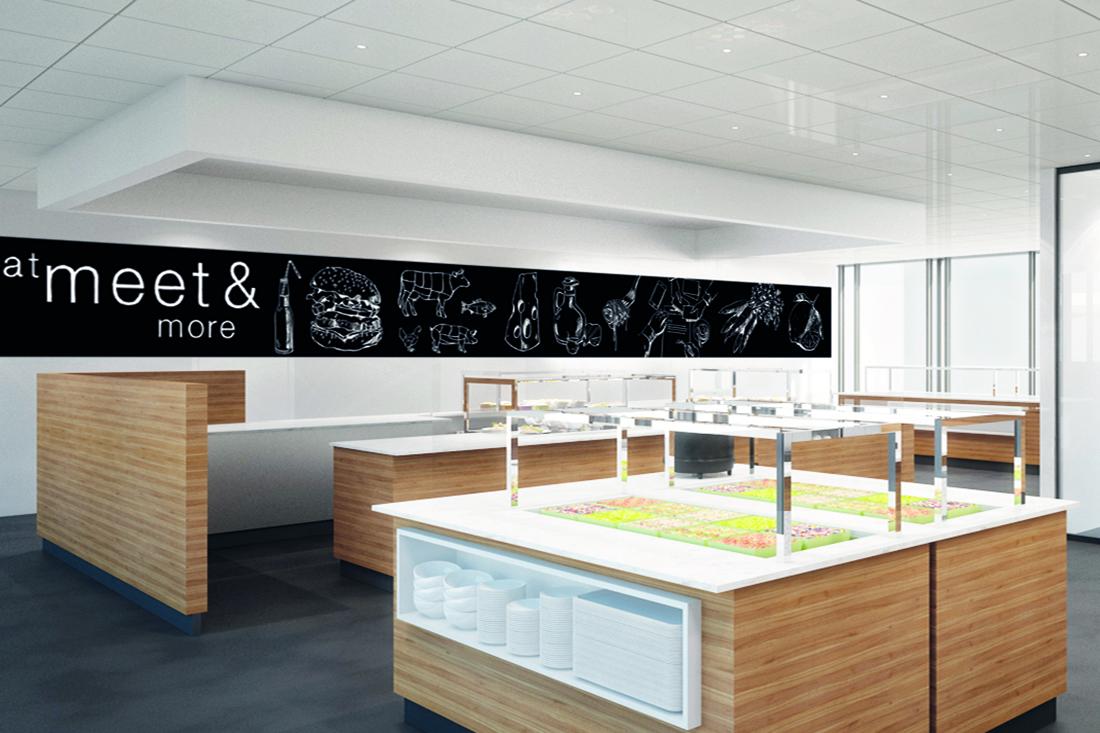 Wandstreifen mit gezeichneten Bildmotiven, weiss auf schwarzer Tafel im Selbstbedienungsbereich