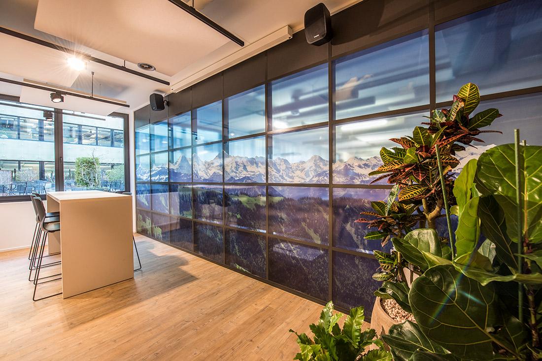 Glas-Sichtschutzwand und grossflaechigem Bildmotiv der schweizer Bergwelt