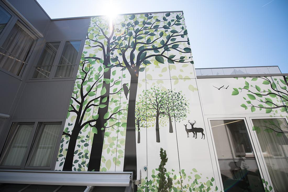 Ansicht von unten an fertig beklebte Fassade (Sujet der Folie: Wald mit Bäumen, Specht, Reh und Hirsch)