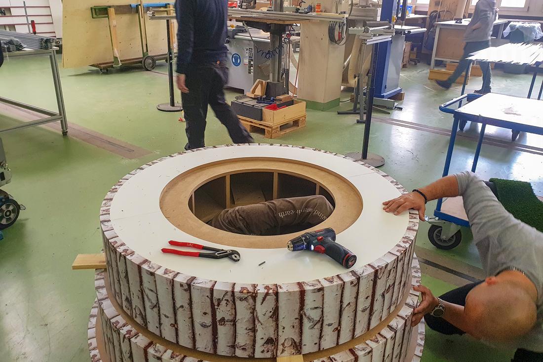 Aufbau des Unterbaues der XXL 3D gedruckten Skulptur