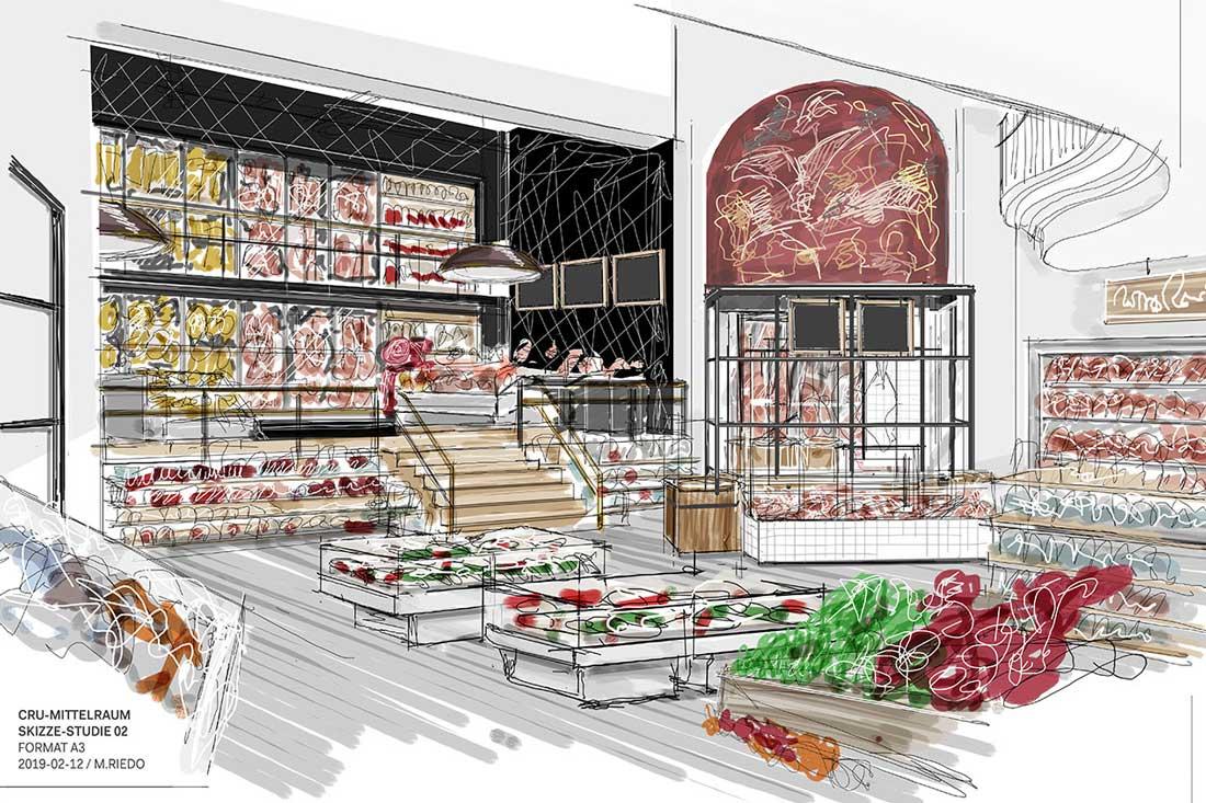 Skizze eines aussergewoehnlichem Ladenbau-Konzepts